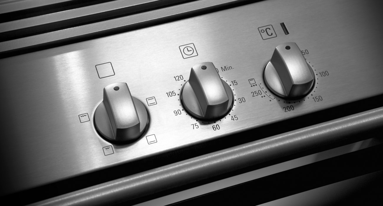 view of stainless steel cooker controls